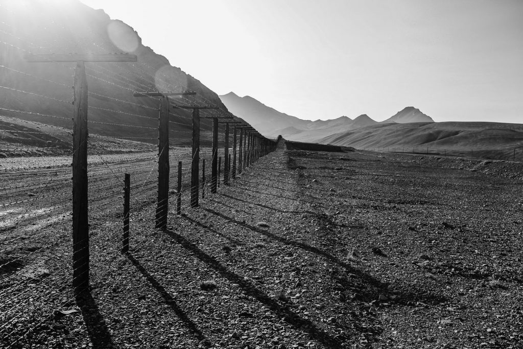 Border fence between Tajikistan and China