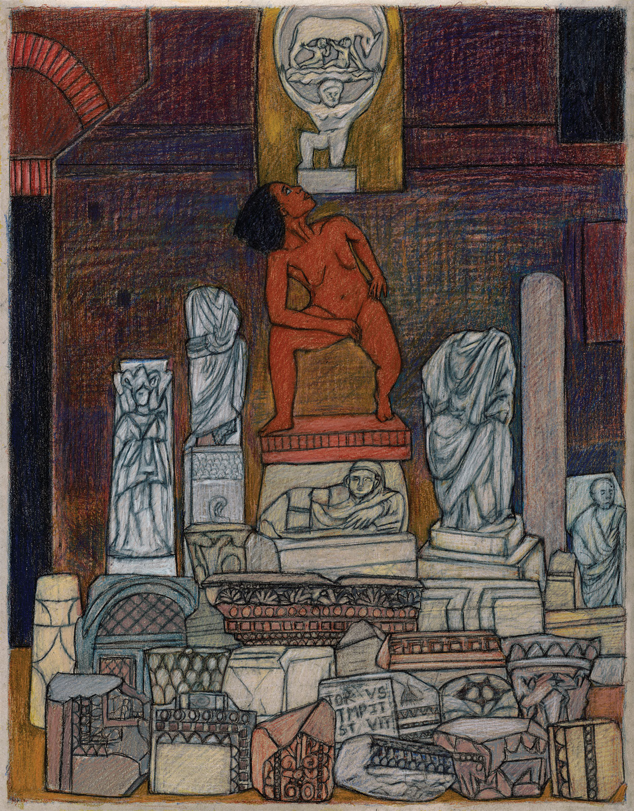 <i>The Italy Drawings: Statues</i> (2014), 22˝ × 17˝, colored pencil on paper