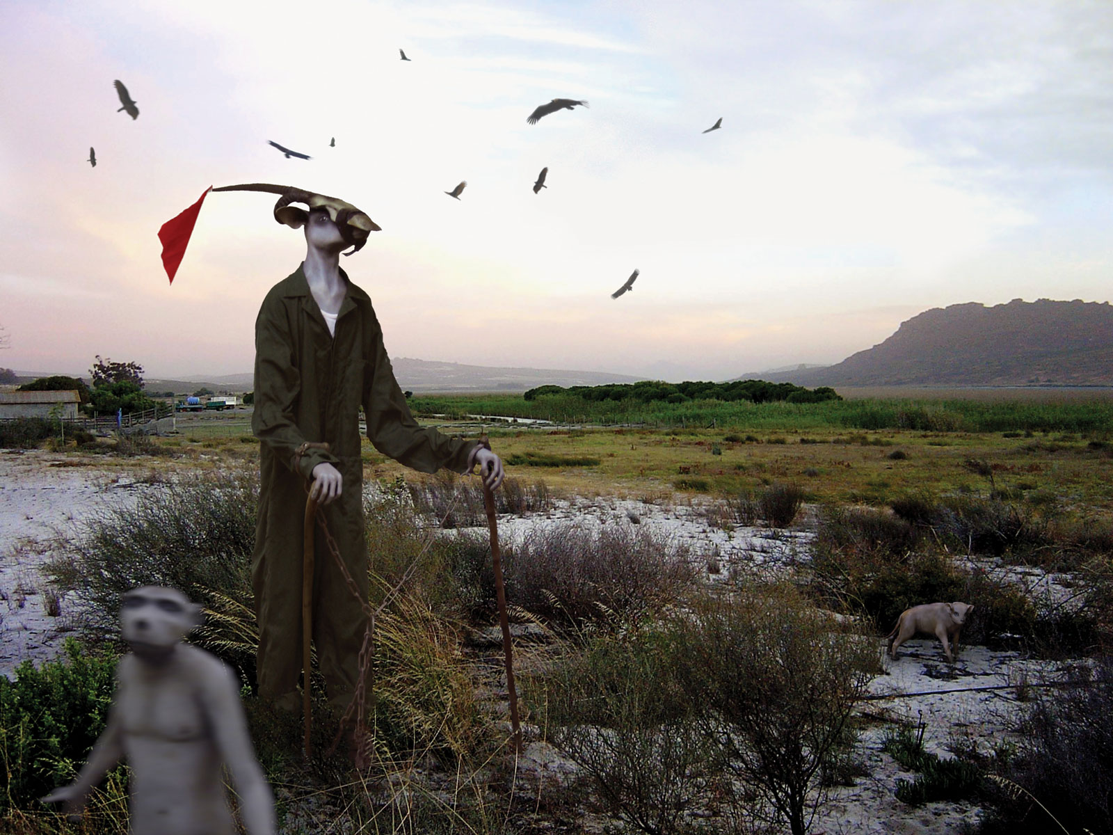 <i>Harbinger</i> in correctional uniform, lost marsh (2007). Photomontage including vultures, sculpture <i>Harbinger in correctional uniform</i>, and location of Verlorenvlei (lost marsh) in the Western Cape, South Africa. Fiberglass; oil paint; synthetic clay; wood walking sticks; prisoner's uniform from pre-democracy South Africa; shackles loaned from Pollsmoor Maximum Security Prison in South Africa. Image from a pigment print on cotton paper, 30 × 40 cm