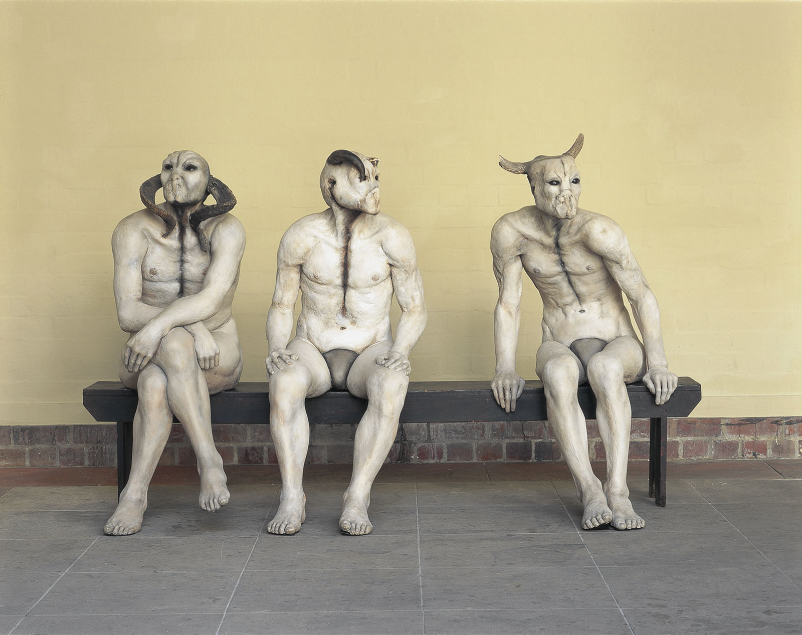 <i>Butcher Boys</i> (1985–86). 128.5 × 213.5 × 88.5 cm. Plaster; bone; horn; oil paint; wood. Collection of Iziko South African National Gallery, Cape Town. Photograph by Mark Lewis