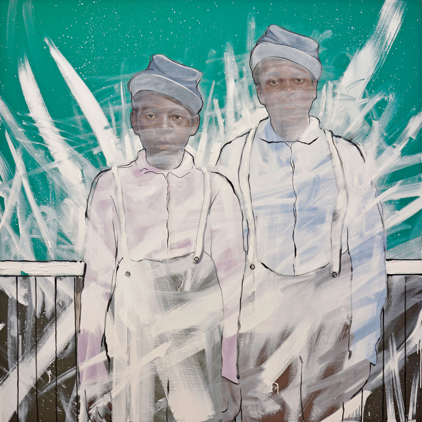 <i>Boys in Winter</i> (2013), 64˝ × 64˝ × 1 1/2˝, oil on canvas