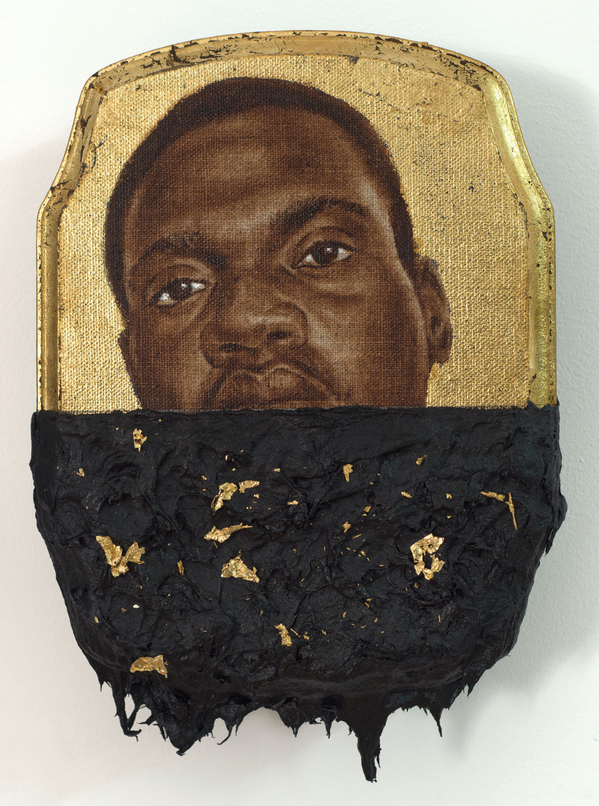 <i>Jerome I</i> (2014), 10˝ × 7˝ × 1˝, oil, gold leaf, and tar on wood panel