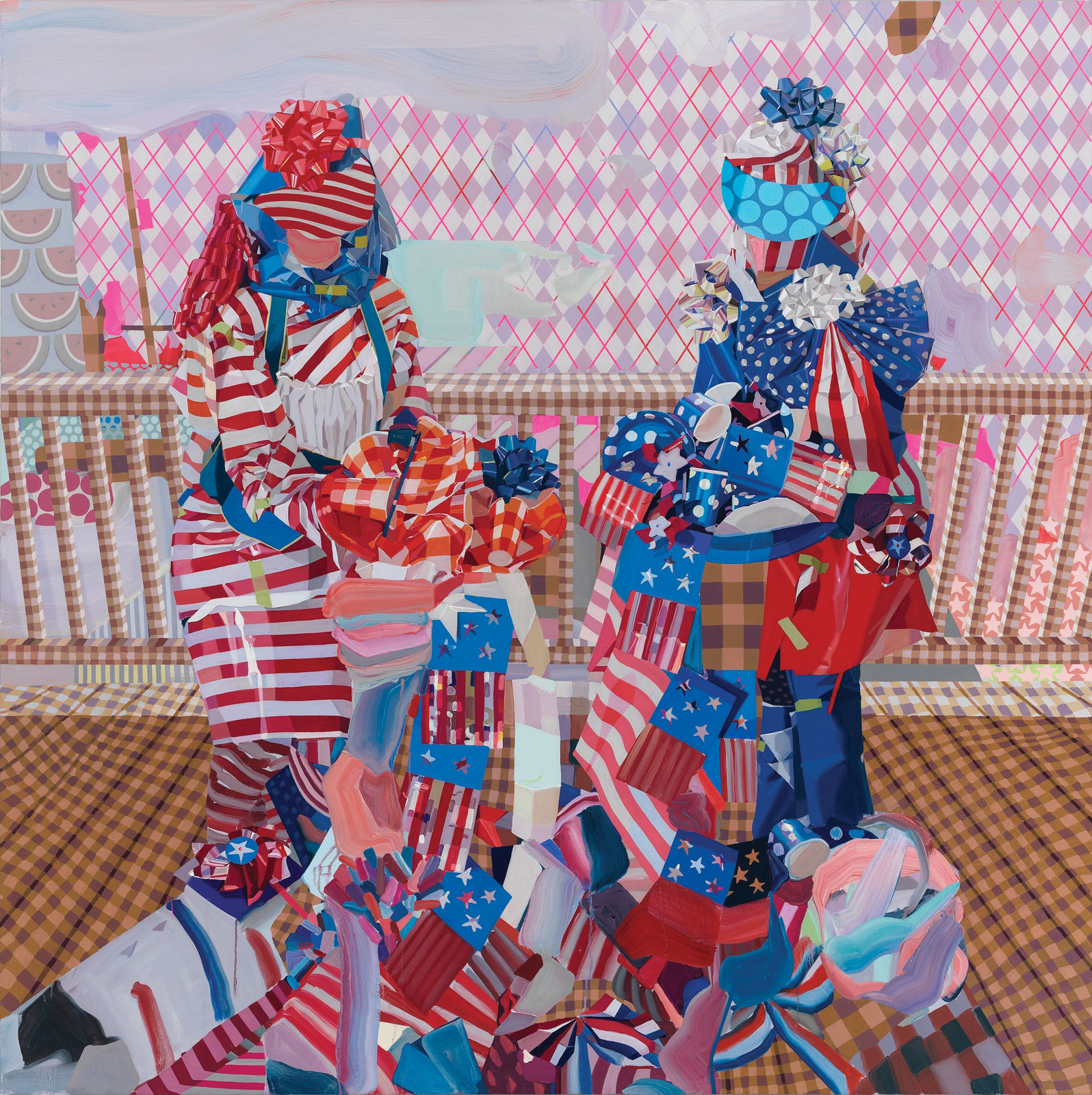 <i>Pie Contest</i> (2012), 66˝ × 66˝, oil and curling ribbon on canvas