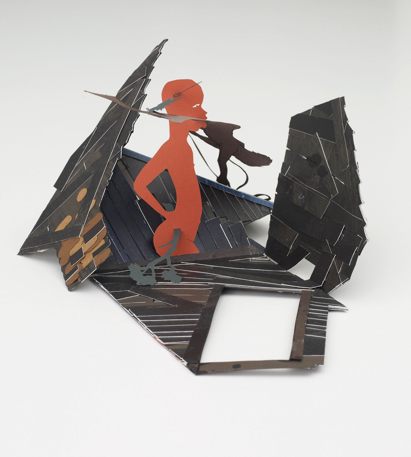 <i>Cabin</i> (2009), 12˝ × 9.5˝ × 5˝, cut paper and paint