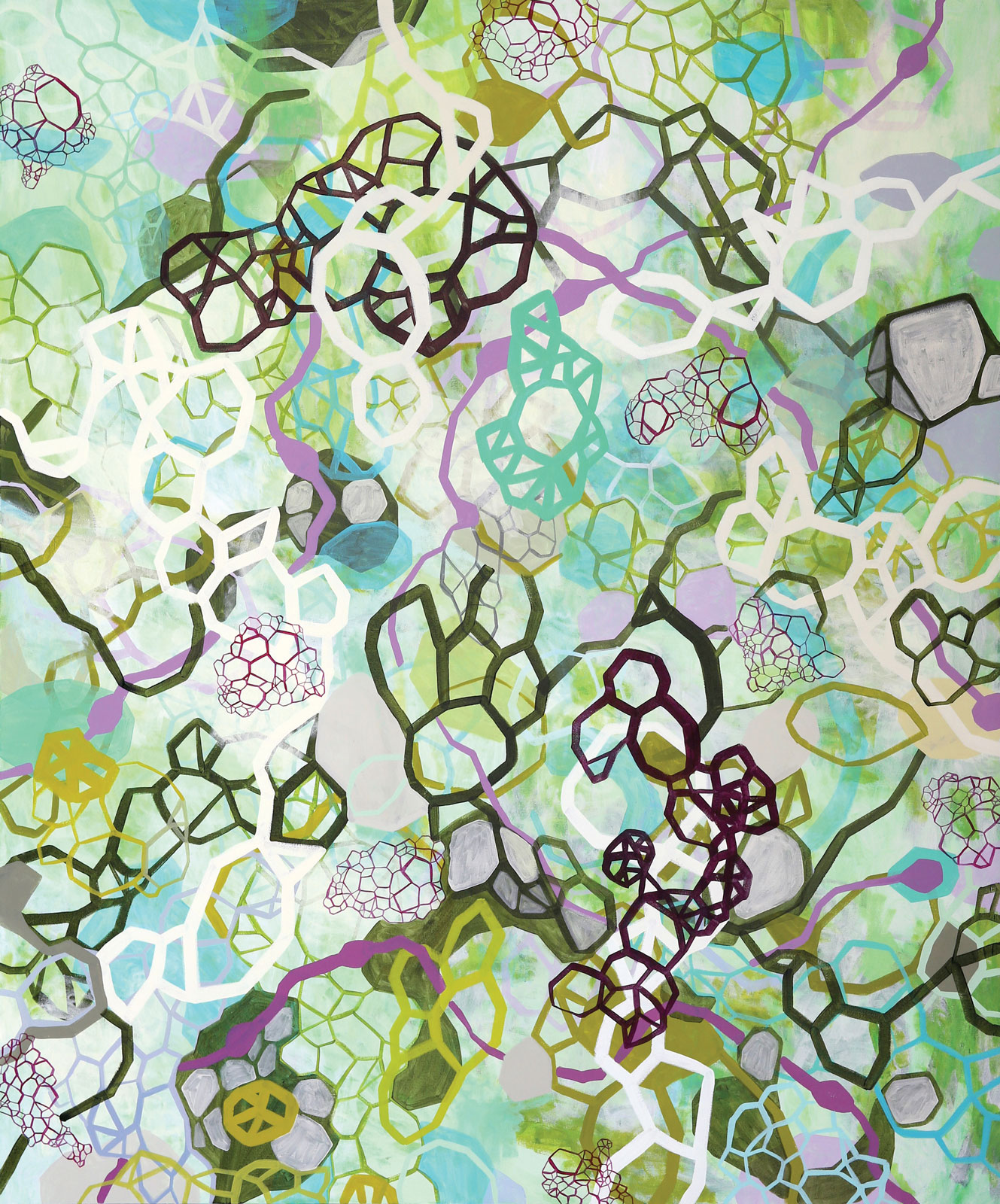 <i>Isotropic Green</i> (2014), acrylic on canvas, 60˝ × 72˝
