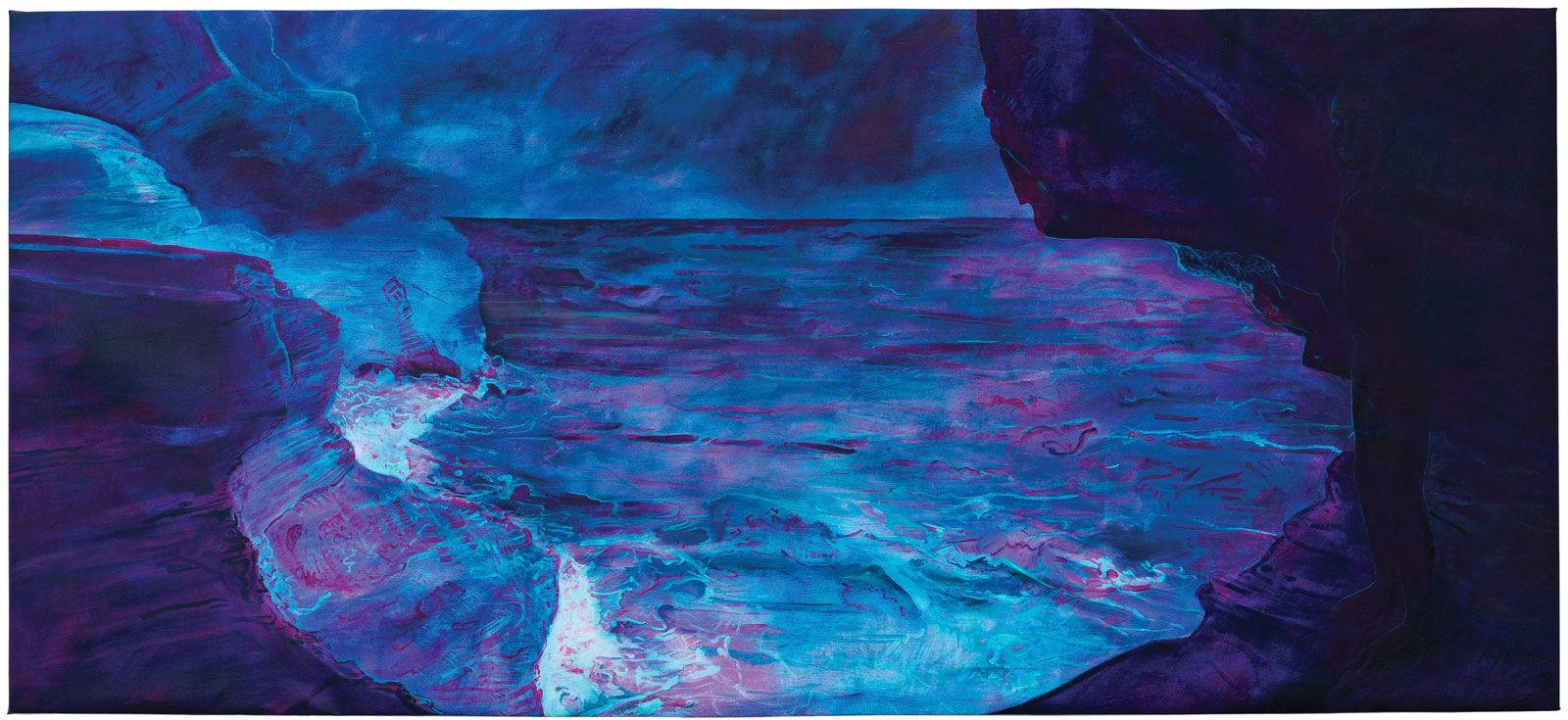 <i>Jeffrey's Cave</i> (2015), acrylic and oil on canvas, 60˝ × 132˝