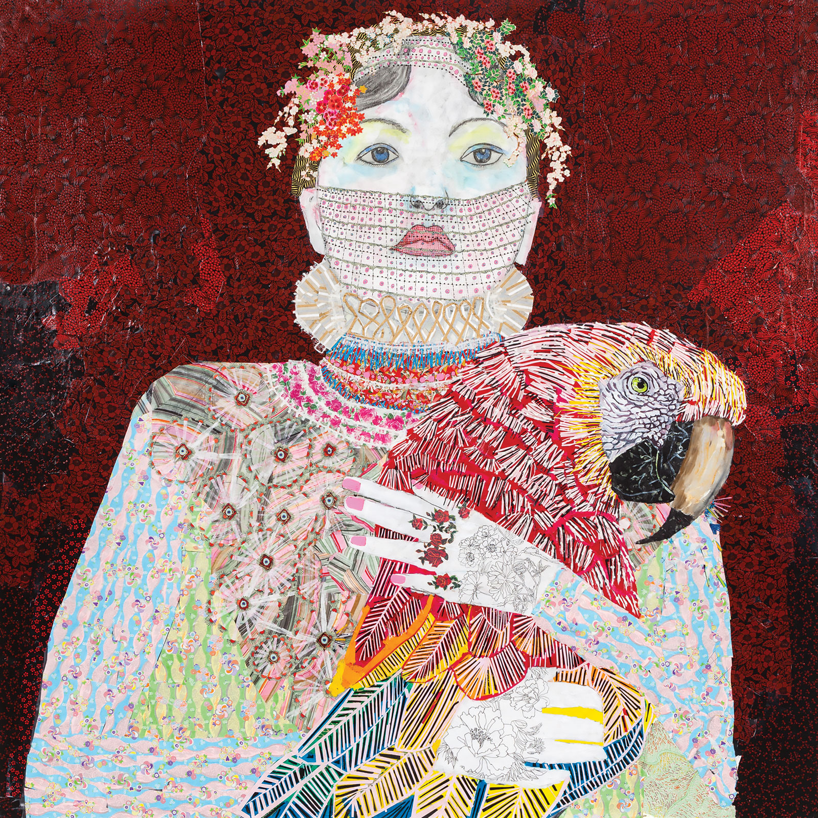 <i>The Lovers</i> (2015), 72˝ × 72˝, collage with Japanese papers and watercolor paint with Swarovski rhinestones on canvas