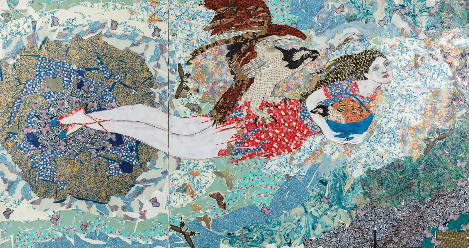<i>Escapando del Paraíso</i> (2013), 70˝ × 108˝, collage with Japanese papers and watercolor paint on canvas