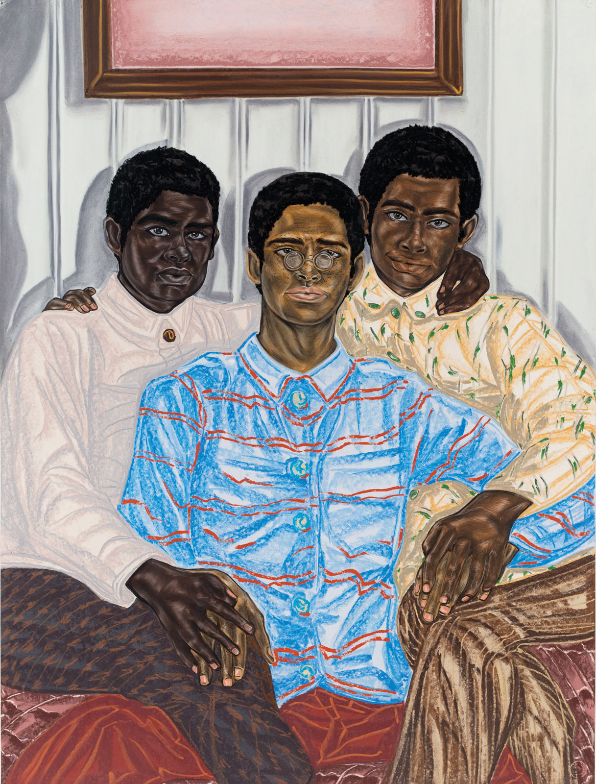 <i>Three Blessed Heirs</i> (2017–18), pastel, charcoal, and pencil on paper, 40˝ × 30˝
