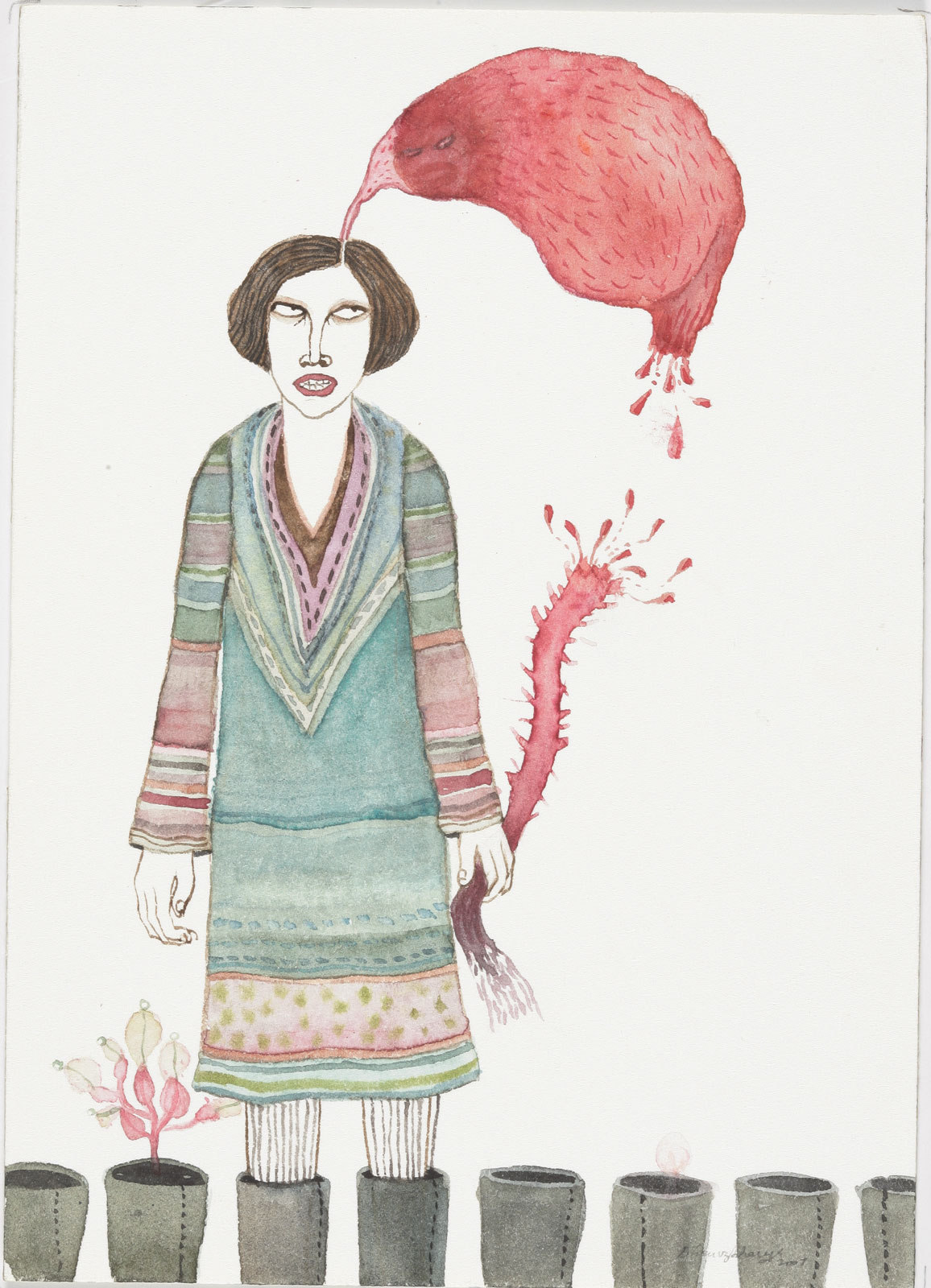<i>Woman with Broken Tail</i> (2007), watercolor on paper, 6˝ × 4˝