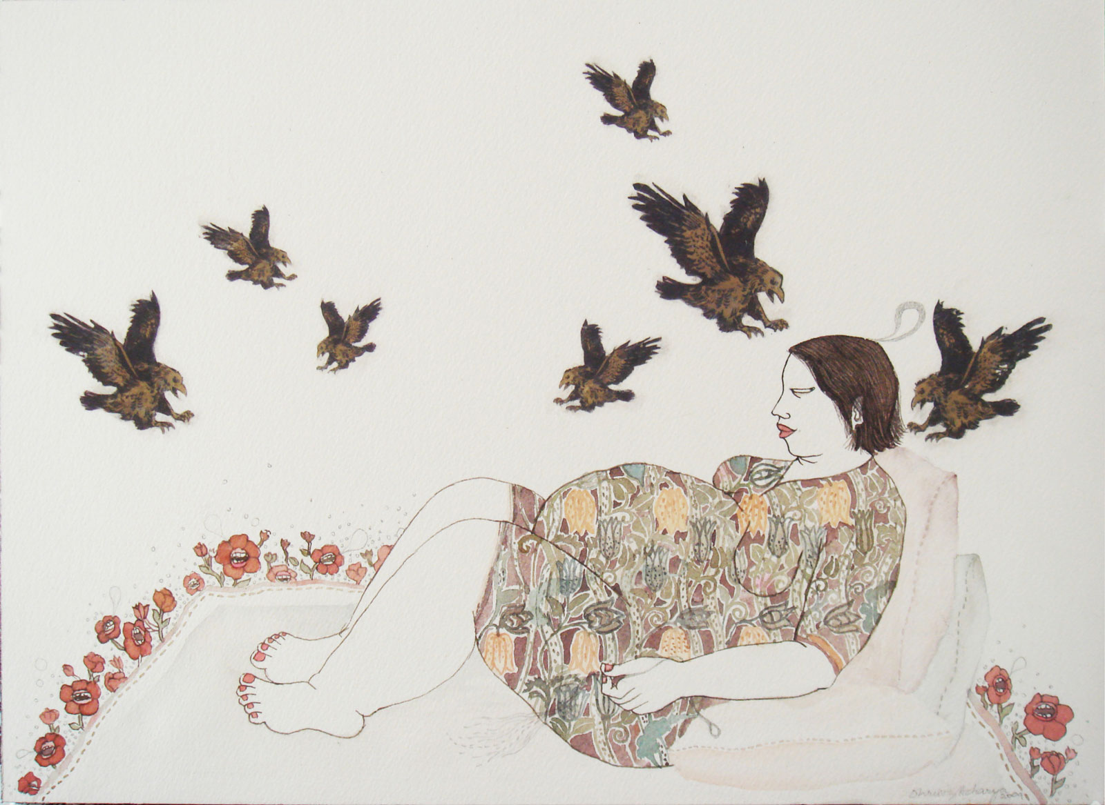 <i>Birds II</i> (2009), graphite, watercolor, and collage on paper, 10˝ × 14˝