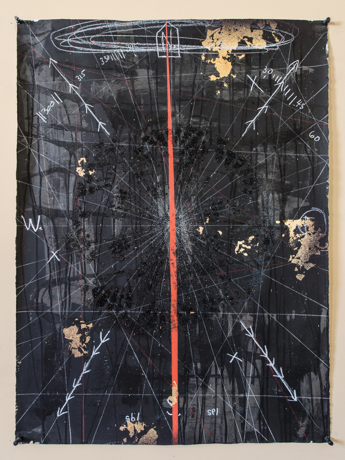 <i>Compass</i> (2017), acrylic, white charcoal, gold leaf, and mixed media on paper, 30˝ × 22˝